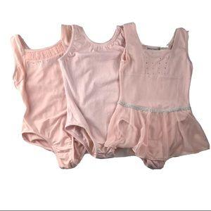 Bundle 3 girls ballet leotards ballet pink size4/5